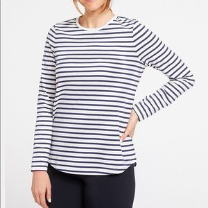Lands End Blue and White Striped Long Sleeve Shirt